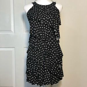 WHBM Layered Ruffle Dress - Black w/Diamond Dots